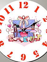 Modern/Zeitgenössisch Familie Wanduhr,Kreisförmig Holz 34*34*3cm Drinnen Uhr