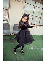 Girl's Casual/Daily Solid DressCotton Winter Black
