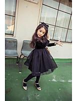 Vestido Chica de-Casual/Diario-Un Color-Algodón-Invierno-Negro