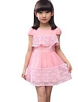 Mädchen Kleid-Lässig/Alltäglich einfarbig Baumwolle Sommer Blau / Rot / Beige