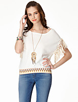 Women's Casual/Daily Simple Summer T-shirtSolid Round Neck Short Sleeve White Rayon / Nylon Thin