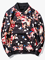 Men's Long Sleeve Casual / Sport JacketPolyester Print Red