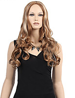 Fashional Middle Part Long Curly Brown Blonde Mix Color Hair Wigs Sexy Fashion Women Wig