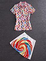 Boutique S Women's Going out Cute Summer T-shirt SkirtRainbow Standing Collar Short Sleeve Pink Cotton Medium