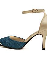 Синий / Золотистый-Женский-На каждый день-Полиуретан-На шпильке-Удобная обувь-Обувь на каблуках