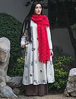 Ample Robe Femme Décontracté / Quotidien Vintage,Broderie Col Arrondi Midi Manches Longues Blanc Autres Automne / Hiver Taille NormaleNon