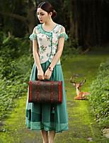 Tee-shirt Aux femmes,Fleur Sortie Vintage Eté Manches Courtes Coeur Vert Rayonne / Polyester Fin