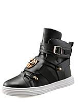 Men's Fashion Boots PU Casual Flat Heel Buckle / Lace-up Black / Red / White Walking EU39-43