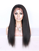 Brazilian Virgin Human Hair 1B# Natural Black Color 150% Density Kinky Straight Lace Front Wigs For Black Women