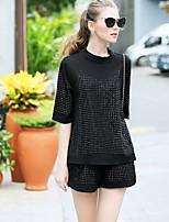 Kenaya Women's Casual/Daily Simple Fall Set PantSolid Round Neck Long Sleeve Black Cotton Medium
