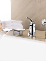 Contemporary Waterfall / Handshower Included with Ceramic Valve 1- Handle 3-Holes for Chrome  Bathtub Faucet
