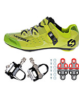 03 Cycling Shoes Unisex Outdoor / Road Bike Sneakers Damping / Cushioning Yellow / Green-sidebike  And Black Rock Pedals