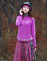 Our Story Going out Vintage Spring / Fall T-shirtPaisley Crew Neck Long Sleeve Pink Cotton / Spandex Medium
