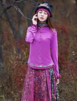 Tee-shirt Femme,Cachemire Sortie Vintage Printemps Automne Manches Longues Col Ras du Cou Rose Coton Spandex Moyen