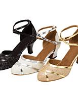 Chaussures de danse(Noir / Blanc / Or) -Personnalisables-Talon Personnalisé-Similicuir / Paillette Brillante-Latine / Moderne