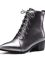 Women's Shoes Boots Spring/Fall/Winter Fashion Boots/Bootie Office Career/Dress/Casual Chunky Heel Lace-upBlack