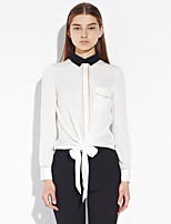 Women's Going out Street chic Spring / Fall ShirtSolid Shirt Collar Long Sleeve White Polyester / Spandex Thin