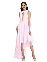 Lanting Bride® Asymmetrical Chiffon Bridesmaid Dress - Elegant A-line Jewel with Ruffles