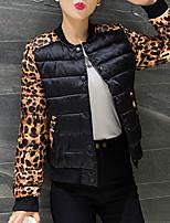 Пальто Уличный стиль Короткая На подкладке Женский,Леопард На выход Полиэстер Полиэстер,Длинный рукав Круглый вырез Черный
