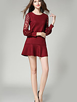 Women's Casual/Daily Sophisticated Sheath DressSolid Round Neck Mini Long Sleeve Red / Black