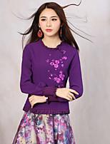 Tee-shirt Aux femmes,Broderie Sortie Vintage Printemps / Automne Manches Longues Col Arrondi Violet Polyester / Spandex Moyen