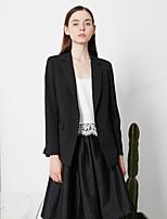 c + Frauenarbeit einfach alle Jahreszeiten blazersolid fallendem Revers lange Ärmel schwarz Polyester Medium beeindrucken