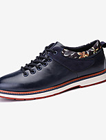 Men's Flats Spring Fall Comfort Microfibre Outdoor Casual Flat Heel Lace-up Black Blue White Walking