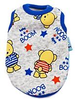 Cartoon Prints Velvet Mouse Bear Monkey Sail Blue Sunflower Red Elephant Pink Duck Blue Duck Vest for Pet Dog