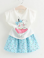 Girl's Casual/Daily Print Dress / BlouseCotton Summer Blue / White