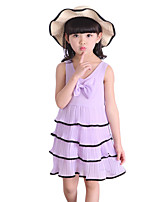 Girl's Casual/Daily Solid DressPolyester Summer Pink / Purple / White