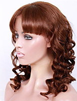 14-18inch Braizlian virgin remy human hair new big curl with bang glueless lace front wigs for African Americans