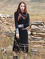 Gaine Robe Femme Sortie Vintage,Cachemire Col Arrondi Midi Manches Longues Bleu Rayonne Polyester Spandex Printemps Automne Taille Normale