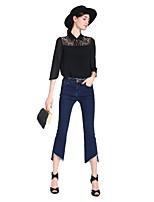 Goelia® Женский Воротник Питер Пен 1/2 Длина рукава Рубашка и Блузка черный увядает-167C3B080