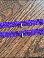 Garter Stretch Satin / Lace Imitation Pearl / Rhinestone Purple