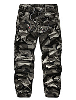 Men's Camouflage Casual / Sport Sweatpants,Cotton Green / Yellow