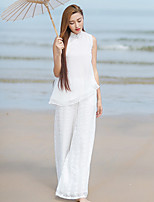 Ramie Cotton Women's Embroidered White Wide Leg PantsSimple / Chinoiserie Summer