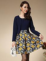 Trapèze Robe Femme Travail / Grandes Tailles Vintage,Fleur Col Arrondi Au dessus du genou Manches Longues Bleu PolyesterPrintemps /