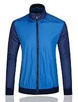 Мужской Хлопок Куртка На каждый день / Для офиса,Пэчворк,Длинный рукав,Синий / Оранжевый / Белый