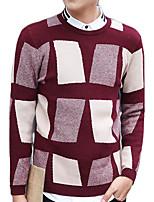 Мужской Контрастных цветов Пуловер На каждый день / Для офиса / Для торжеств и мероприятий / Для занятий спортом,Хлопок,Длинный рукав,