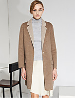 C+IMPRESS Women's Work Simple CoatSolid Peaked Lapel Long Sleeve Winter Brown Wool / Rayon Medium
