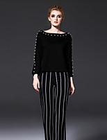 FRMZ  Women's Going out Street chic All Seasons T-shirtSolid Boat Neck Long Sleeve Black Rayon / Nylon Medium