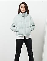 C+IMPRESS Women's Solid Green Down CoatSimple Stand Long Sleeve