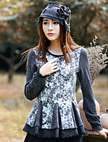 Our Story Going out Vintage Regular PulloverFloral Gray Crew Neck Long Sleeve Wool / Polyester / Spandex Spring