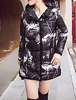 Women's Print White / Black Down CoatStreet chic Hooded Long Sleeve