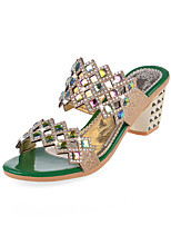 Women's Sandals Summer Platform PU Casual Chunky Heel Crystal Black / Green / Gold Others