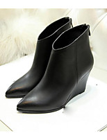 Women's Boots Fall Winter Leather Outdoor Wedge Heel Zipper Black Red Other