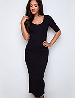Women's Going out / Casual/Daily / Work Sexy / Simple / Street chic Sheath DressSolid Deep U Midi