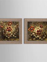 Ручная роспись Цветочные мотивы/ботанический Картины маслом,Modern 2 панели Холст Hang-роспись маслом For Украшение дома