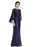Trumpet / Mermaid Mother of the Bride Dress - Elegant Floor-length Long Sleeve Chiffon / Sequined with Sequins