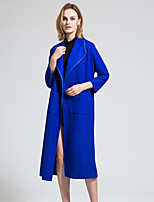 BORME Women's Shirt Collar Long Sleeve Wool & Blends Royal Blue-Y071